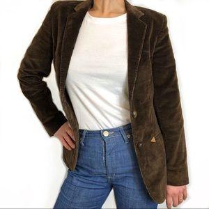 Vintage Fitted  Brown Corduroy Blazer